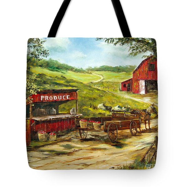 Tote Bag featuring the painting Produce Stand by Lee Piper