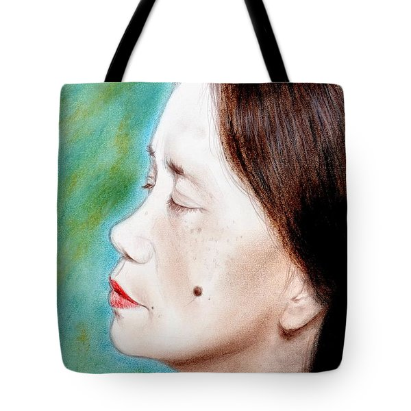 Tote Bag featuring the drawing Profile Of A Filipina Beauty With A Mole On Her Cheek  by Jim Fitzpatrick