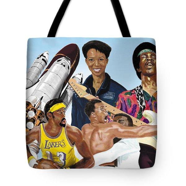 Tote Bag featuring the digital art Jimi, Muhammad Ali, Wilt Chamberlain And Mae Carol Jemison by Thomas J Herring