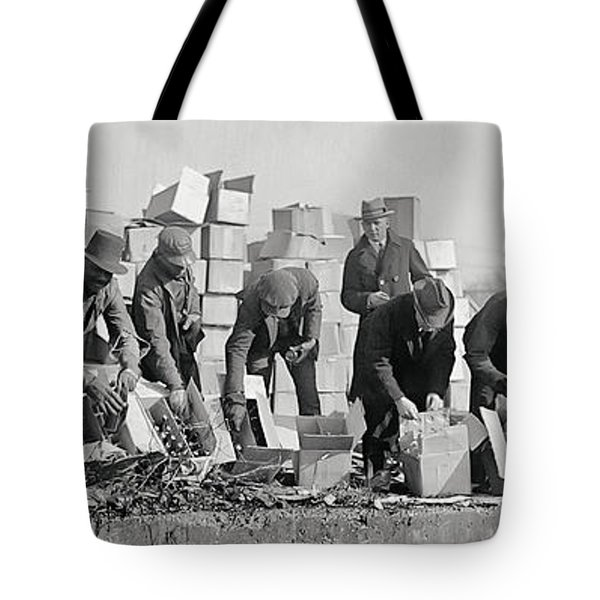 Prohibition Feds Destroy Liquor  1923 Tote Bag