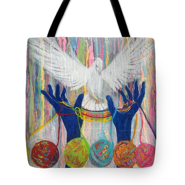 Prophetic Message Sketch 20 What Woman Will Rise Up    Yarn Hands Woven Nest Or Bridge For Dove  Tote Bag