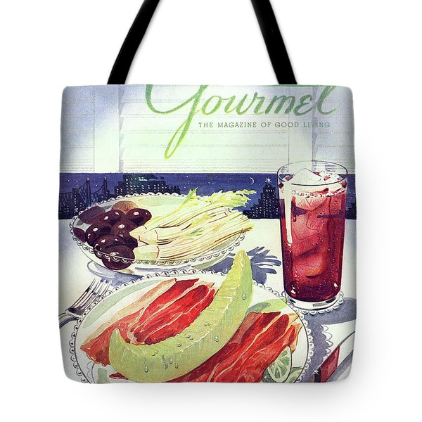 Prosciutto, Melon, Olives, Celery And A Glass Tote Bag