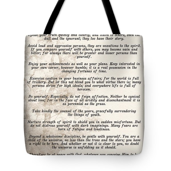 Prose Poem Desiderata By Max Ehrmann  Tote Bag
