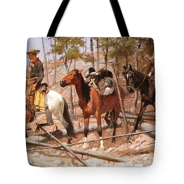 Prospecting For Cattle Range Tote Bag by Frederic Remington