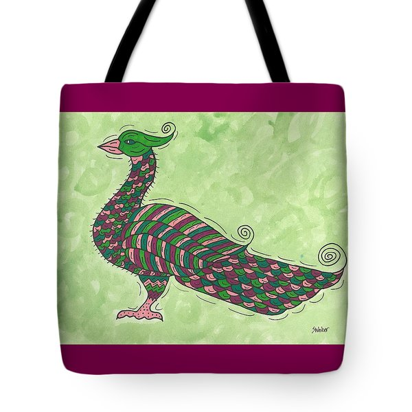 Tote Bag featuring the painting Proud As A Peacock by Susie Weber