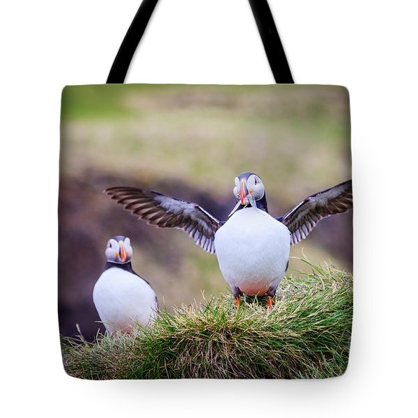 Proud Puffin Tote Bag by Peta Thames