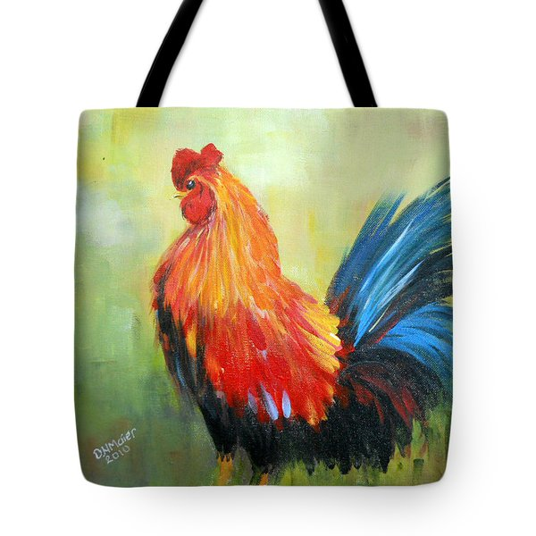 Tote Bag featuring the painting Proud Rooster by Dorothy Maier