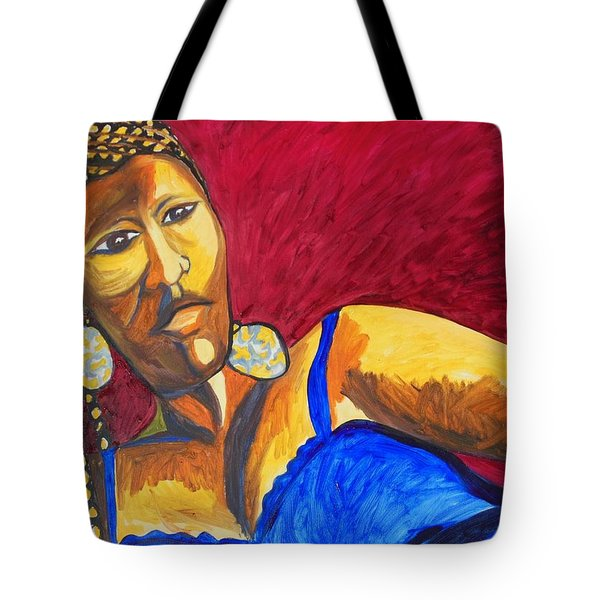 Tote Bag featuring the painting Proud Sheruba Ethiopian Braids by Esther Newman-Cohen