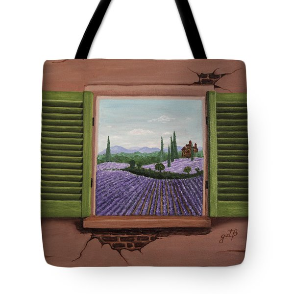 Tote Bag featuring the painting Provence Lavander Fields Original Acrylic by Georgeta Blanaru