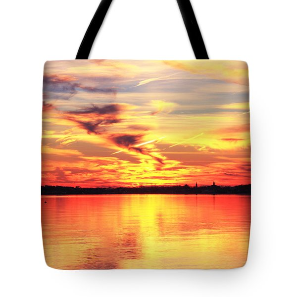 Tote Bag featuring the photograph Provincetown Harbor Sunset by Roupen  Baker