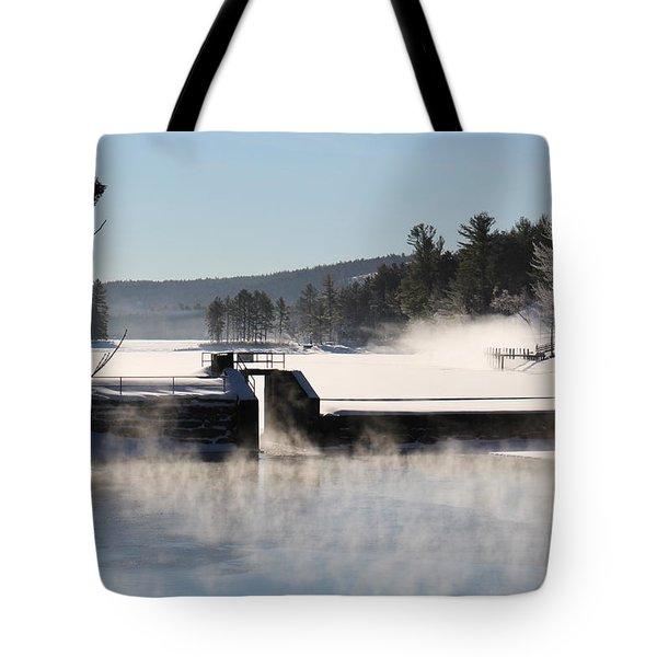 Winter  Pine River Pond  Tote Bag