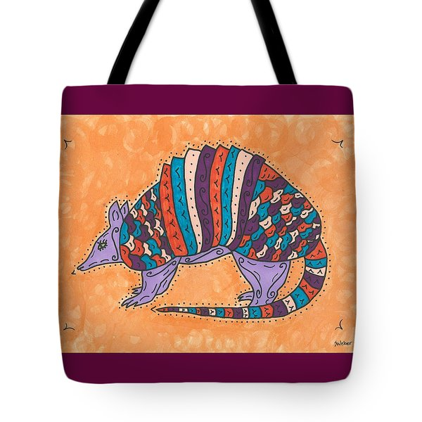 Tote Bag featuring the painting Psychedelic Armadillo by Susie Weber