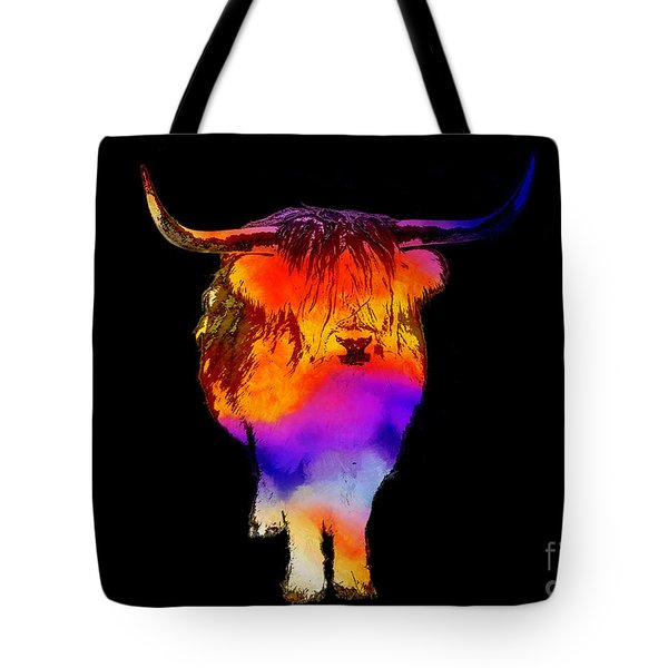 Psychedelic Bovine Tote Bag by Pixel Chimp