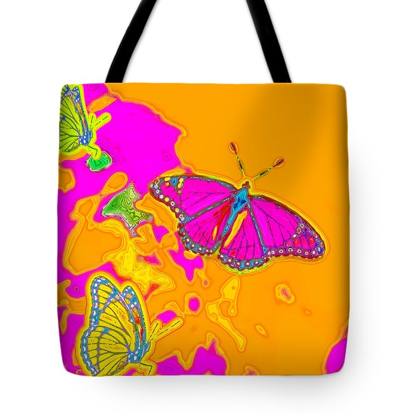 Psychedelic Butterflies Tote Bag by Marianne Campolongo