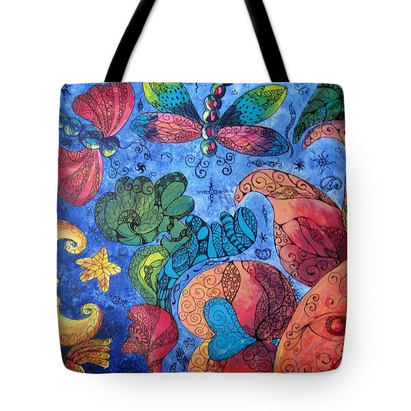 Psychedelic Dreamscape Tote Bag by Megan Walsh