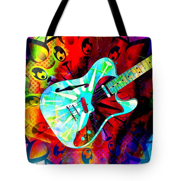 Psychedelic Guitar Tote Bag by Ally  White