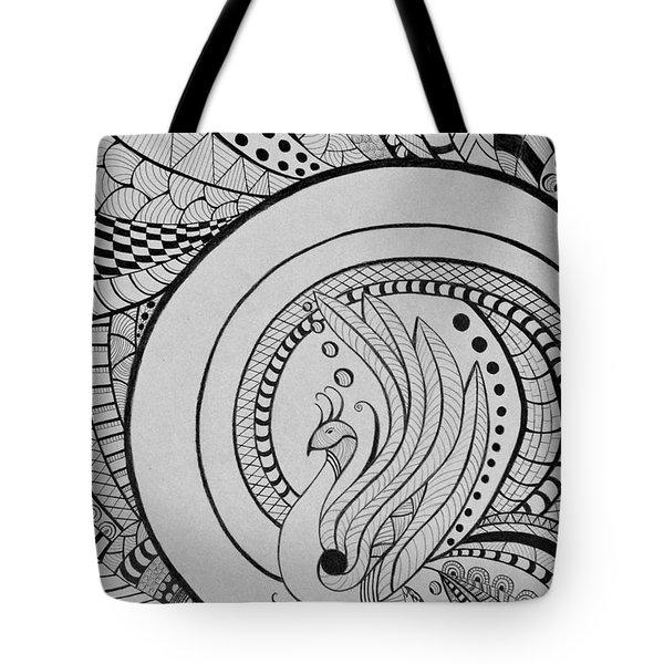 Zentangle Peacock Art Drawing Tote Bag