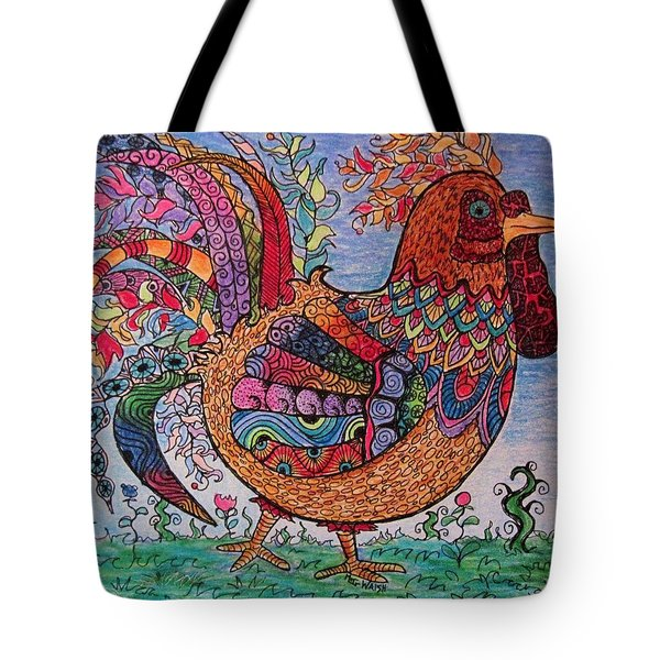 Psychedelic Rooster Tote Bag by Megan Walsh
