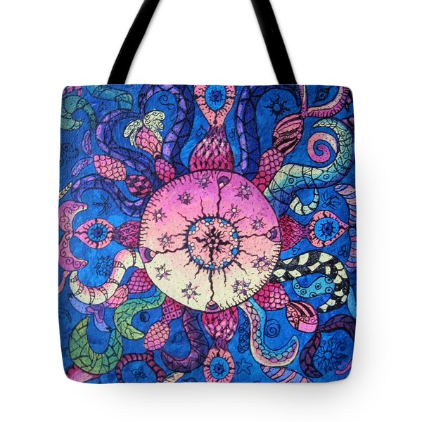 Psychedelic Squid Tote Bag by Megan Walsh