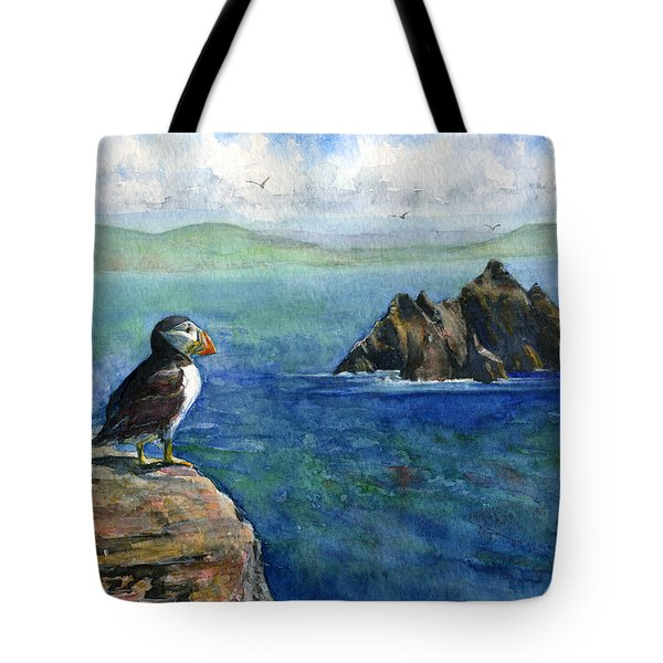 Puffin At Skellig Island Ireland Tote Bag