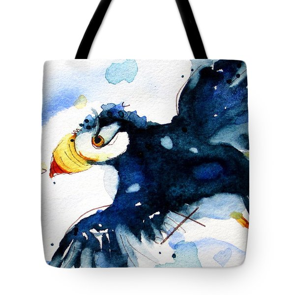 Puffin Flight Tote Bag by Dawn Derman
