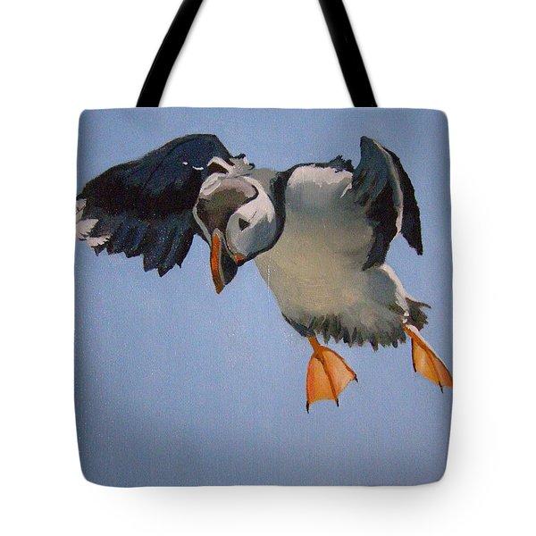 Puffin Landing Tote Bag