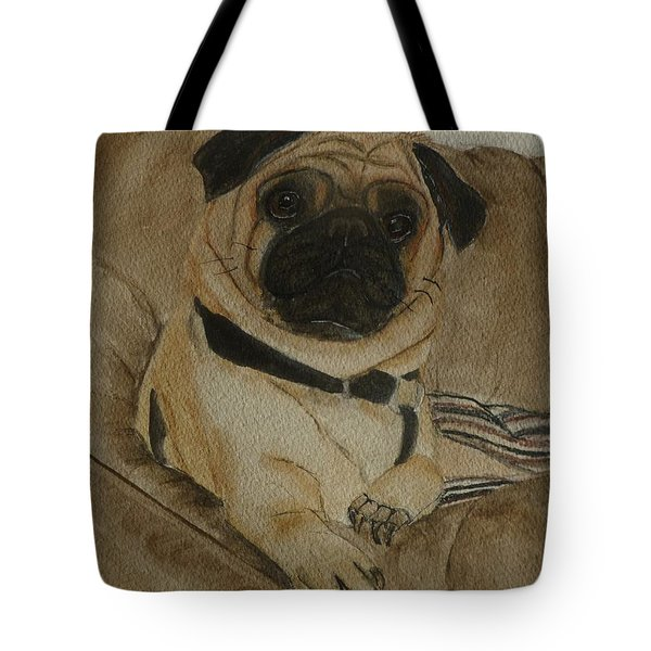 Pug Dog All Ready To Cuddle Tote Bag by Kelly Mills