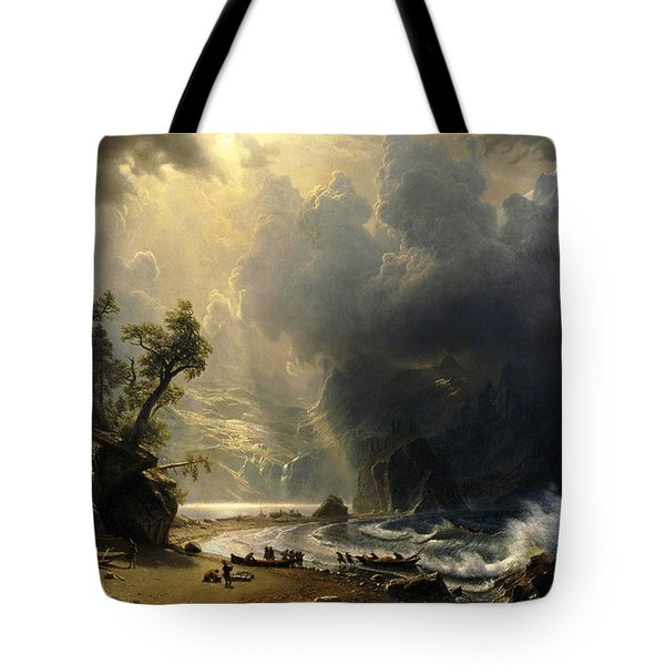 Tote Bag featuring the painting Puget Sound On The Pacific Coast by Albert Bierstadt