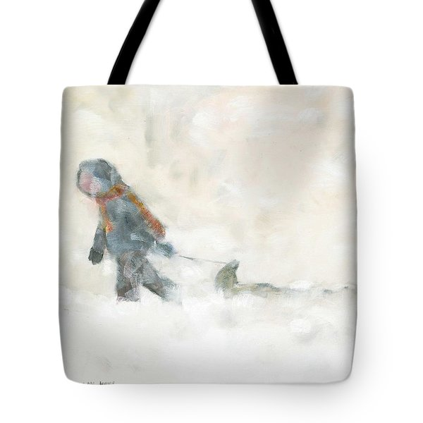 Pulling The Toboggan Home Tote Bag by David Dossett