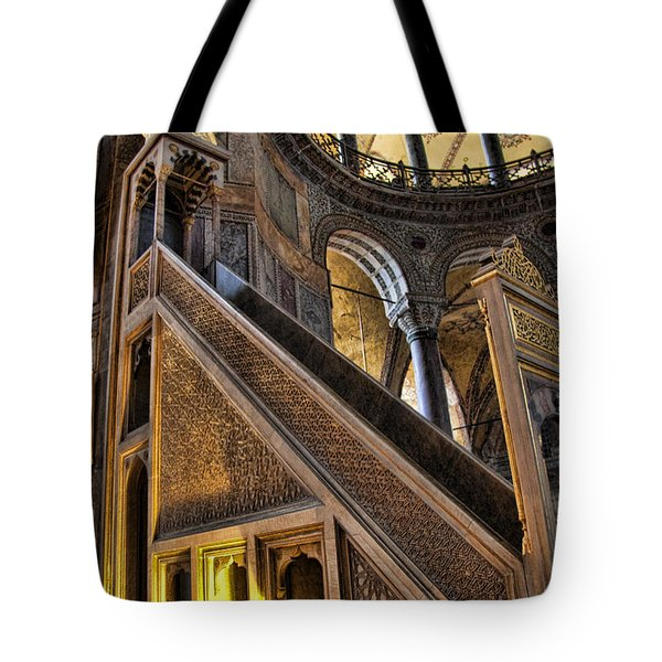 Pulpit In The Aya Sofia Museum In Istanbul  Tote Bag by David Smith