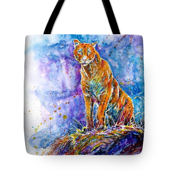 Puma. Listening To The Sounds Of The Mountains.  Tote Bag by Zaira Dzhaubaeva