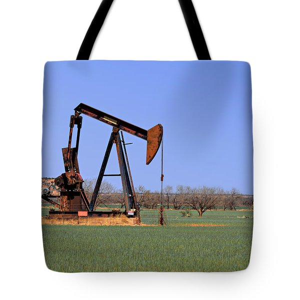 Pump Jack A Texas Icon Tote Bag by Christine Till
