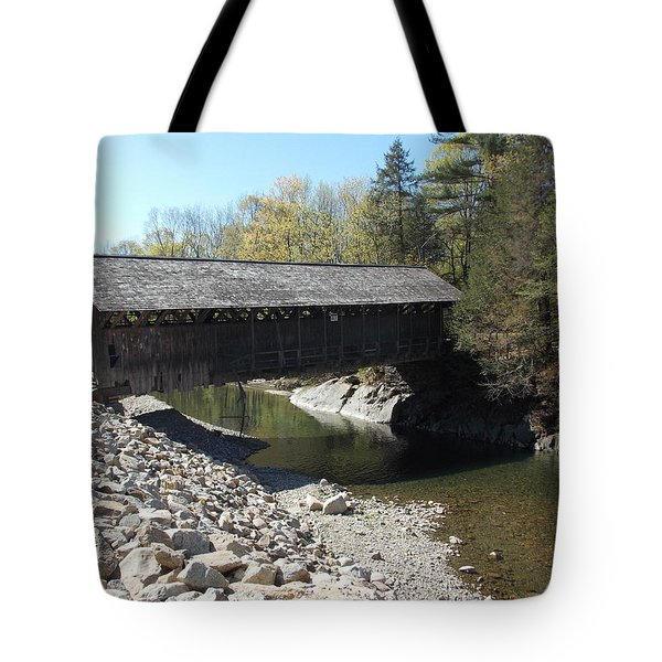 Pumping Station Covered Bridge Tote Bag by Catherine Gagne
