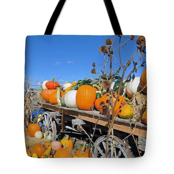 Pumpkin Farm Tote Bag by Minnie Lippiatt