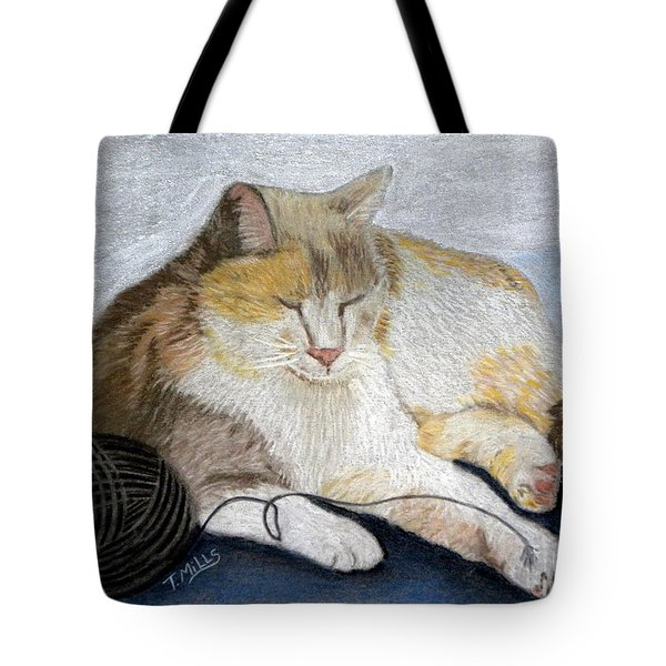 Tote Bag featuring the pastel Pumpkin Patch - Calico Cat by Terri Mills