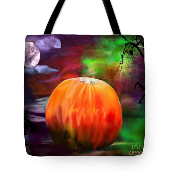 Pumpkin Skull Spider And Moon Halloween Art Tote Bag