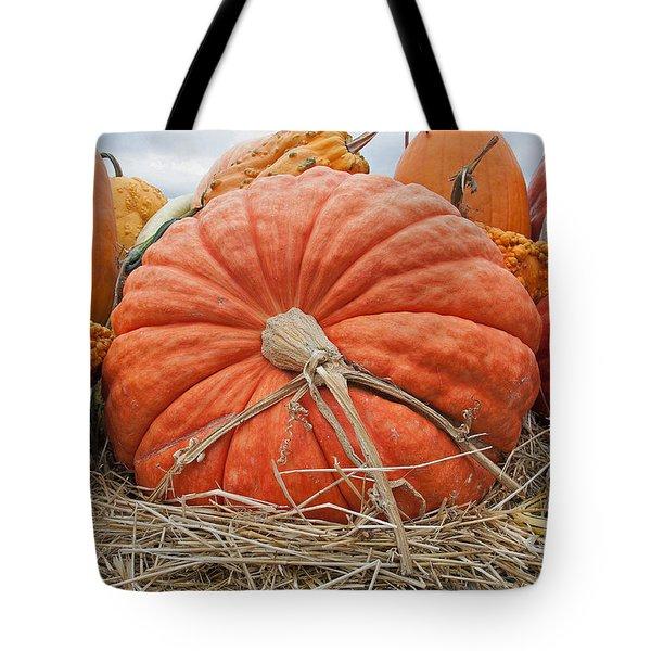 Pumpkin Times Tote Bag by Minnie Lippiatt