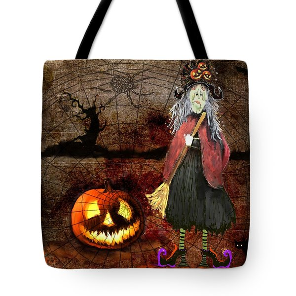 Pumpkinella The Magical Good Witch And Her Magical Cat Tote Bag by Colleen Taylor