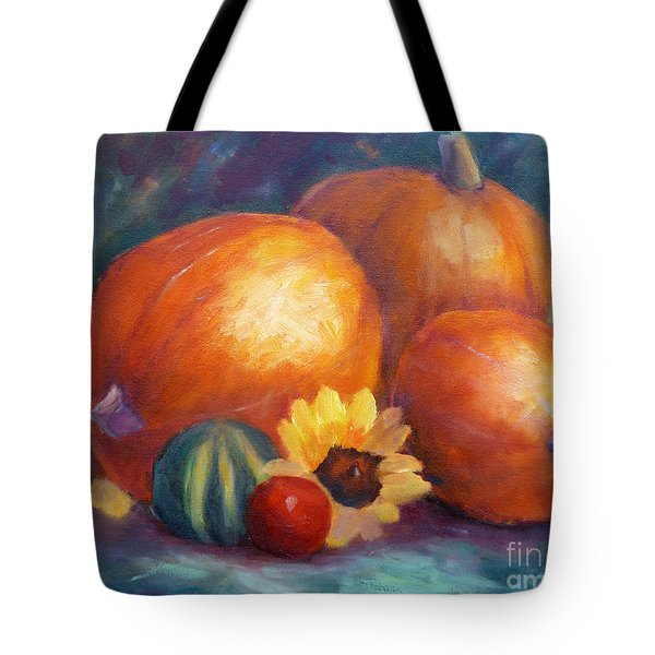 Pumpkins And Flowers Tote Bag