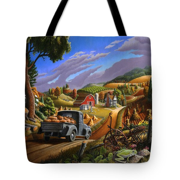 Pumpkins Farm Folk Art Fall Landscape - Square Format Tote Bag