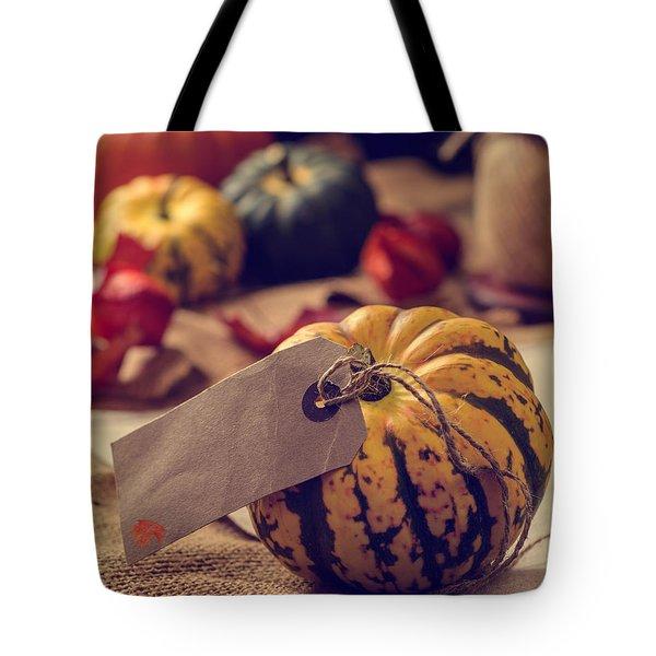 Pumpkins With Label Tote Bag