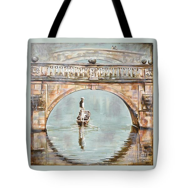 Punting On River Cam Under Clare Bridge Tote Bag by Leigh Banks