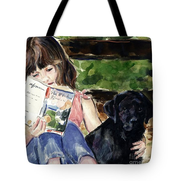 Pup And Paperback Tote Bag by Molly Poole