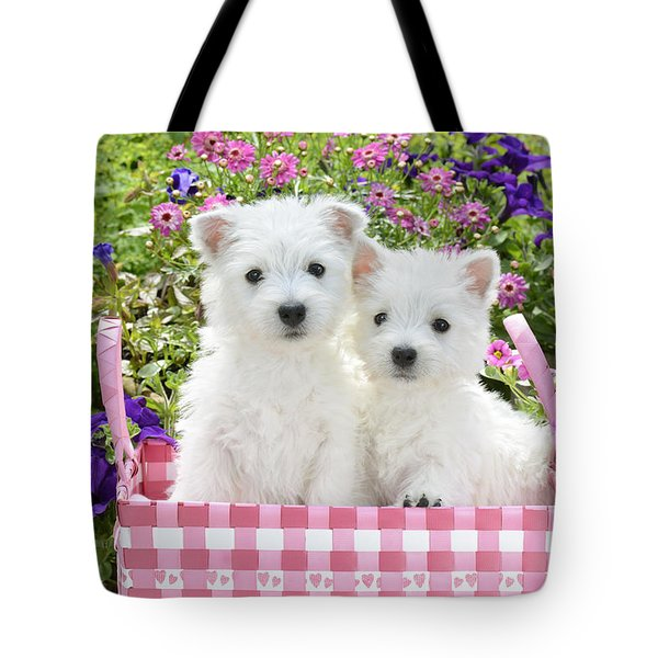 Puppies In A Pink Basket Tote Bag by Greg Cuddiford
