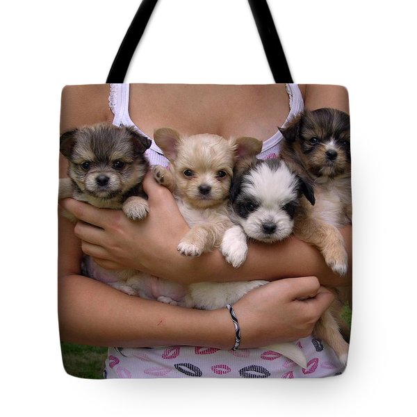 Puppies In Maria's Arms Tote Bag by John Lautermilch