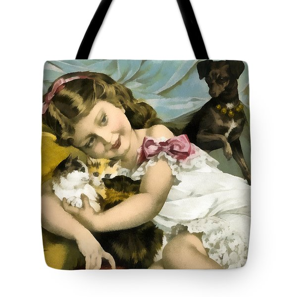 Puppies Kittens And Baby Girl Tote Bag by Vintage Trading Cards