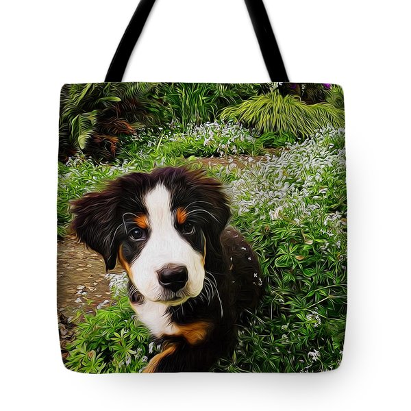 Puppy Art - Little Lily Tote Bag by Jordan Blackstone