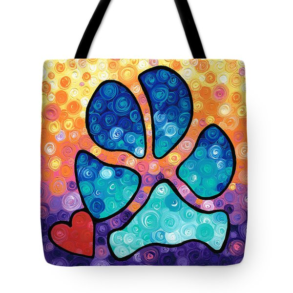 Puppy Love - Colorful Dog Paw Art By Sharon Cummings Tote Bag by Sharon Cummings