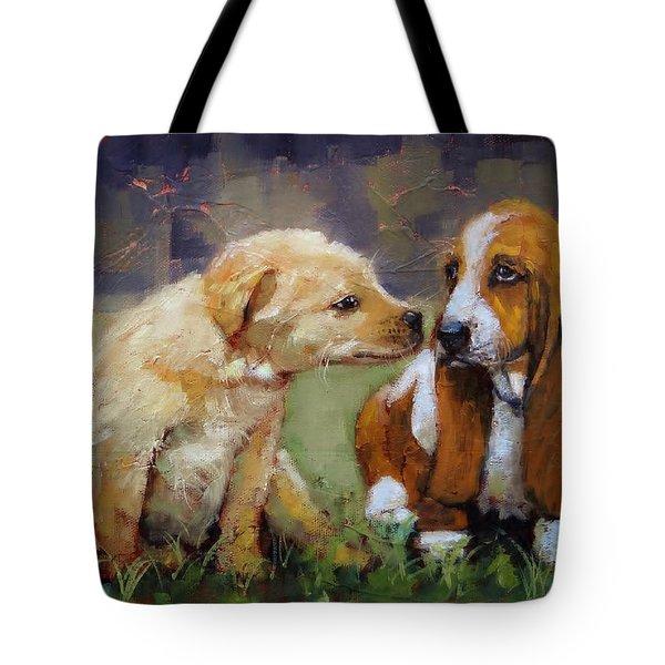 Puppy Love Tote Bag by Laura Lee Zanghetti
