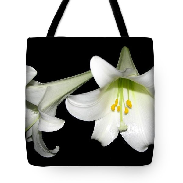 Tote Bag featuring the photograph Pure White Easter Lilies by Rose Santuci-Sofranko